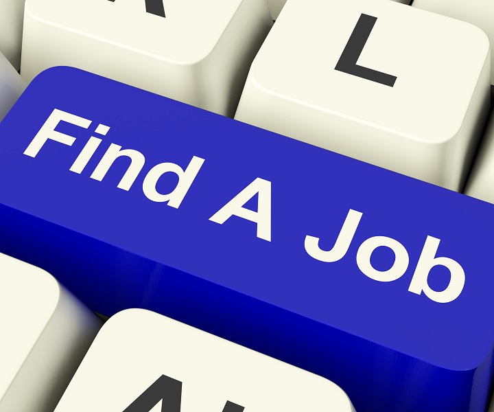 Find A Job Computer Key Showing Work And Careers Search Online